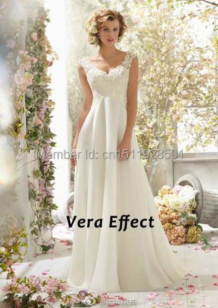 Vintage lace wedding dress white chiffon open back bridal for T back wedding dress