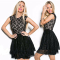 GZDL New Style Hot Sale Sexy Summer Womens Elegant Party Sleevess Black Color Lace Blend Patchwork Skater A Line Dress CL2810