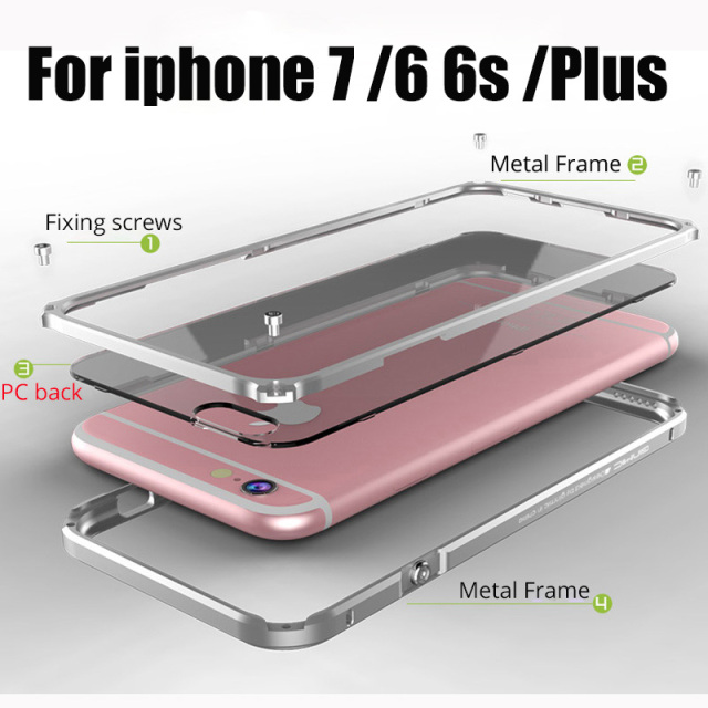 Bumper para iphone 6 6 s plus metal case bumper de alumínio + tampa do pc fundas para iphone 6 6 plus iphon metal case para iphone 7 plus case