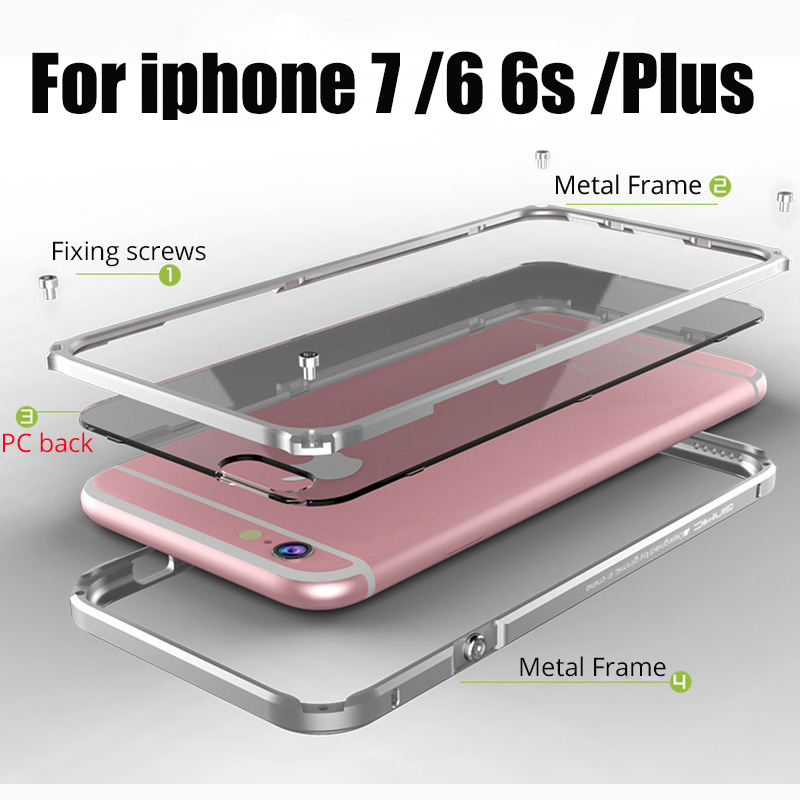 For apple iPhone 6 Cases Cover Aluminum Frame For iPhone6 6S 7 Plus phone Case Clear
