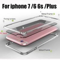 GINMIC Luxury For Iphone7 7 Bumper Case Aluminum Frame PC Back Cover For Iphone6s 7plus Metal