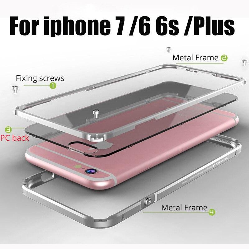 imágenes para Para apple iPhone 6 Casos de La Cubierta de Marco De Aluminio Para iPhone6 6 S 7 Más Caja del teléfono Coque Transparente cubre Para el iphone 7 de Metal parachoques