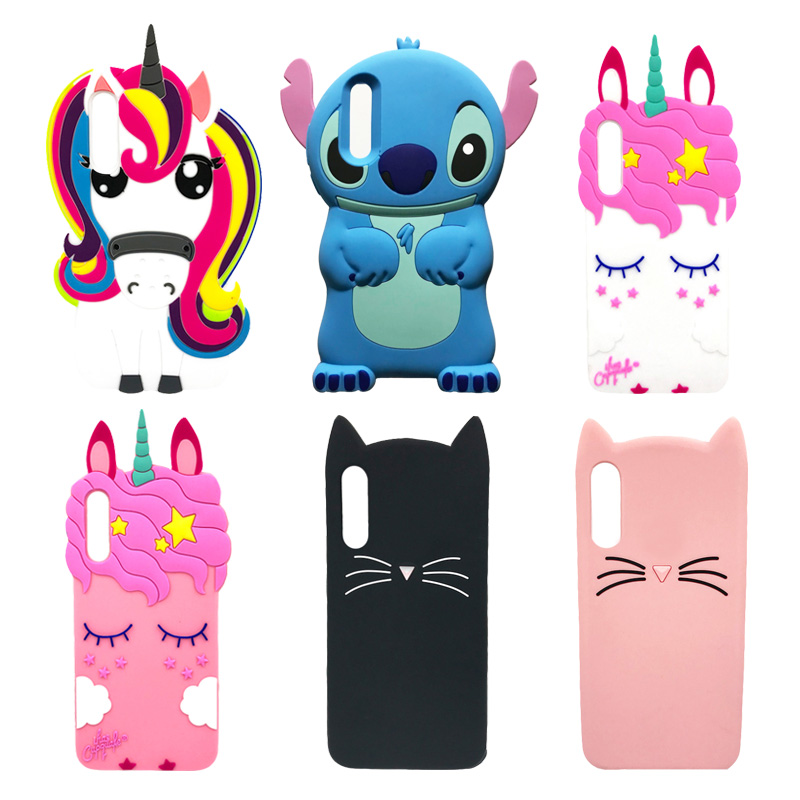 Soft Silicone Case For Coque <font><b>Samsung</b></font> <font><b>Galaxy</b></font> <font><b>A50</b></font> Cute 3D Unicorn Cat Stitch Phone Case For Etui <font><b>Samsung</b></font> <font><b>A50</b></font> A 50 SM-<font><b>A505F</b></font> Cover image