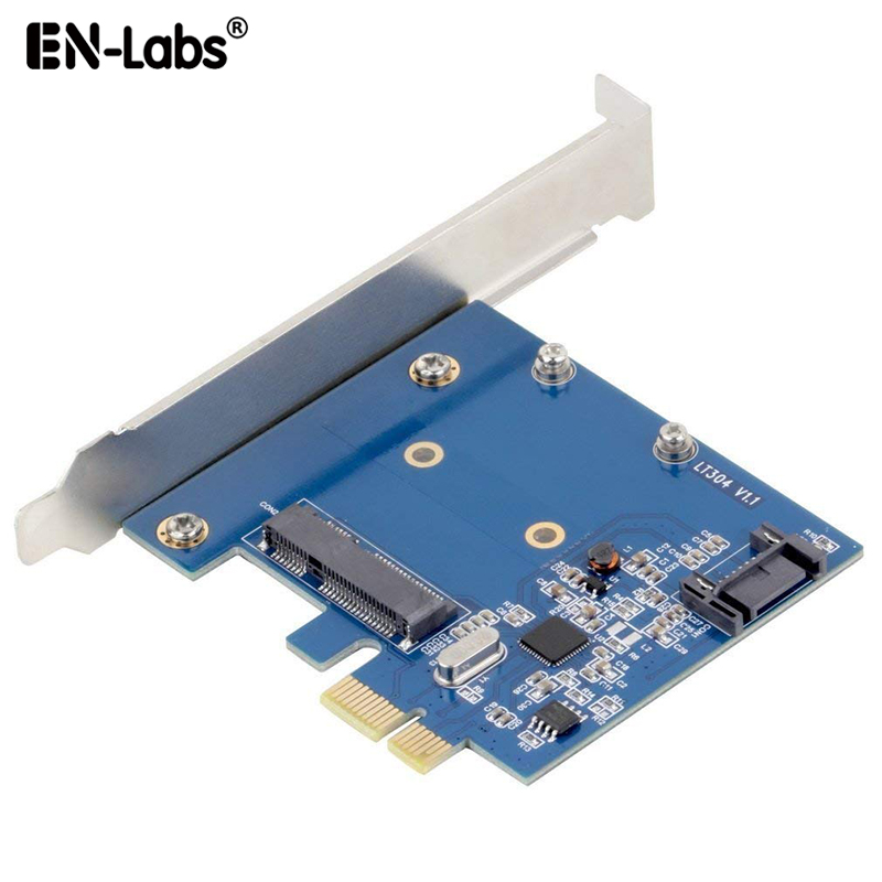 <font><b>PCIe</b></font> <font><b>X1</b></font> To MSATA SSD & SATA3.0 Combo Expansion Card, ASM1061 Chipset PCI Express Controller Mini SATA SSD Adapter for PC Desktop image