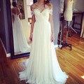 Vestido де noiva Шифон Кружева Свадебное платье A-Line Белый длина Пола vestido бранко Сексуальная vestido де новия