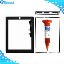 Netcosy A1403 A1416 A1430 A1458 A1459 A1460 touch Screen digitizer panel for ipad 3 & 4 + frame adhesive + tape + 5ml UV glue