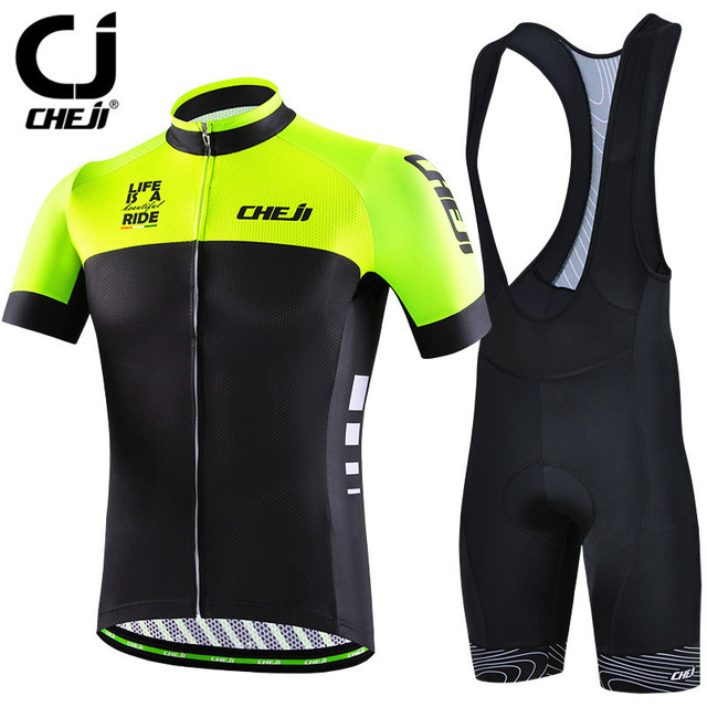 Cheji 2017 Bike Team Racing Sport Cycling Jersey Sets Men Short Sleeve MTB Bicycle Cycling Clothing Breathable Bike Jersey Suit cheji men original camouflage green cycling jersey mtb outdoor breathable bike short sleeve clothing bicycle jersey s 3xl