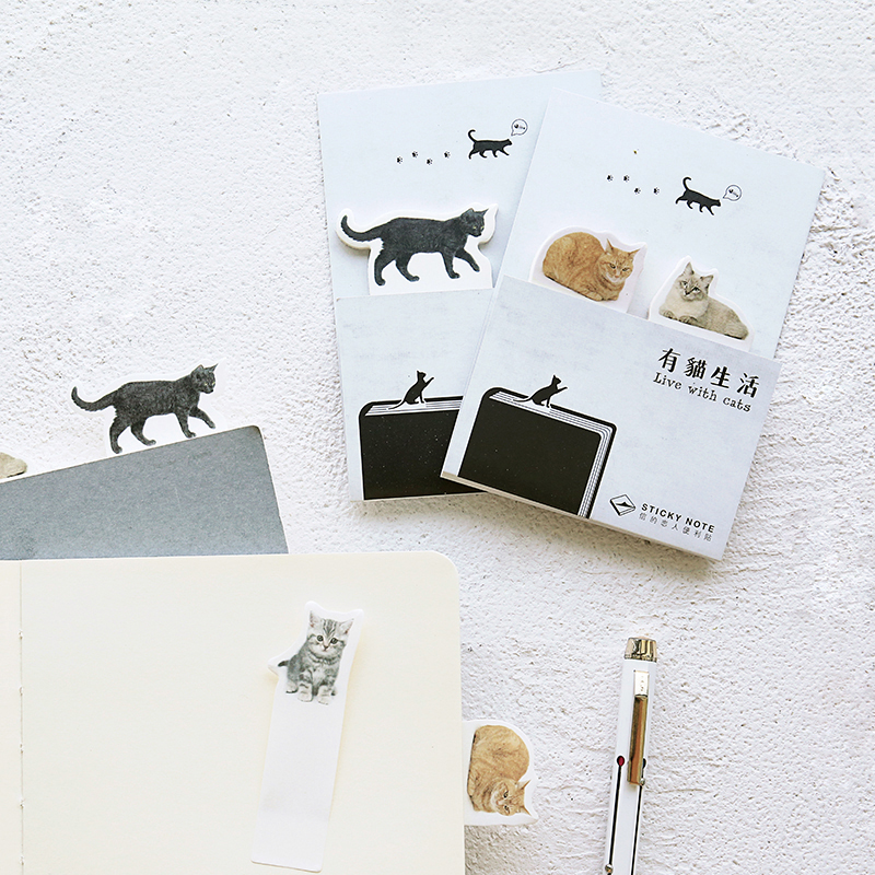 4 pcs/Lot Cat sticker Diary planner sticky notes Post memo pad Bookmark Scrapbook Office accessories School supplies EM677