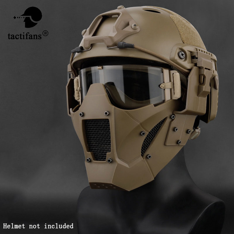 Tactical Airsoft Half Face Paintball Mask Military Army Metal Steel Mesh Adjustabl Protective CS Game Mask For Helmet Connector