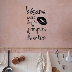 Besame Antes De Salir y Despues De Entrar Spanish Vinyl Wall Sticker Love Quotes Wall Decals For Home Bedroom/Living Room Decor