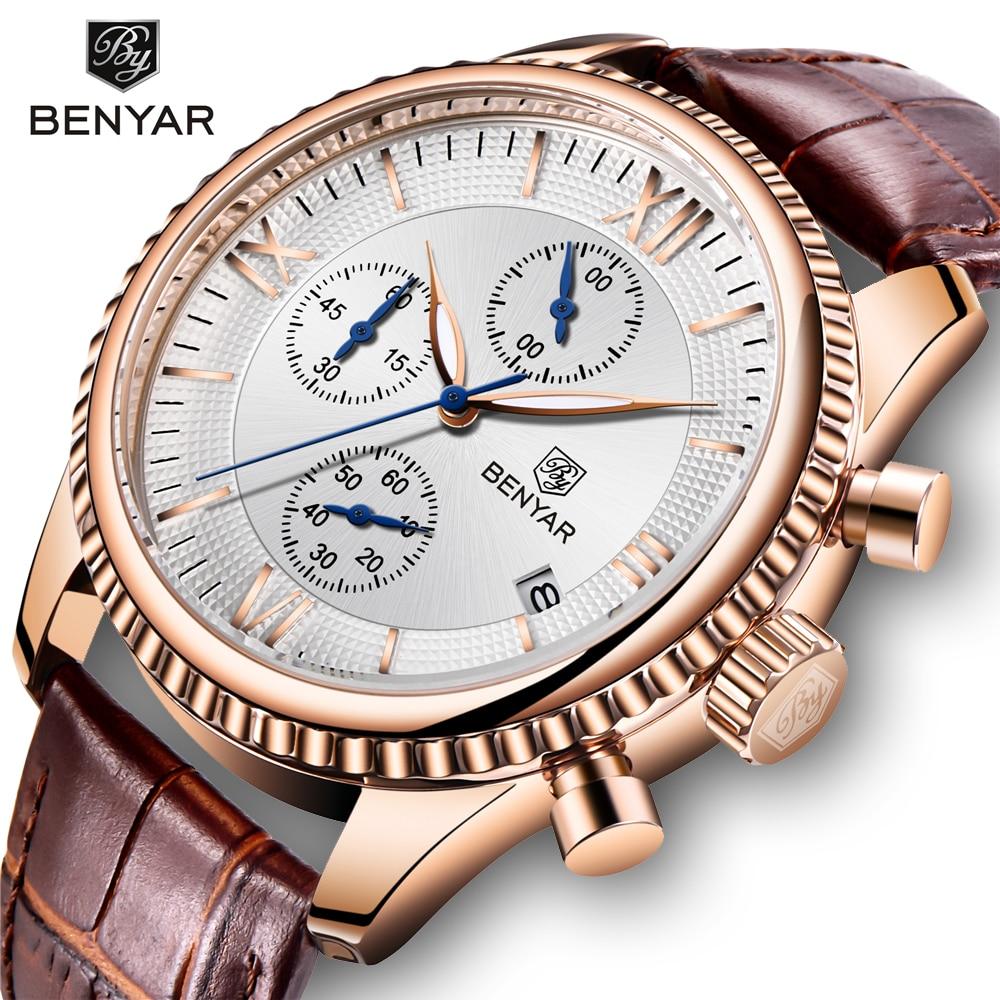 BENYAR Men's Watch Fashion/Sport/Quartz Watch Men Wristwatch Mens Clock Top Brand Luxury Leather Watches Men Relogio Masculino Quartz Watches Watches - title=