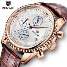 BENYAR Reloj de pulsera para hombre, deportivo, de cuarzo, de cuero, Masculino
