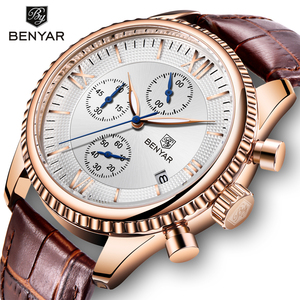 Image 1 - BENYAR heren Horloge Mode/Sport/Quartz Horloge Mannen Horloge Heren Klok Top Brand Luxe Lederen Horloges Mannen relogio Masculino