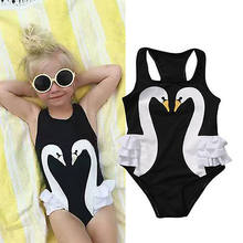 Cute Toddler Kids Baby Girls Swimming White Swan Romper Swimwear Ruffle Skirt Swimsuit Clothes Bodysuit One-Piece Suit Beachwear(China)