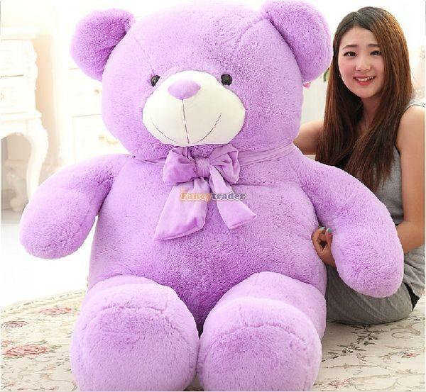 Fancytrader 1 pc 63\'\' 160cm Giant Cute Stuffed Soft Plush Lovely Fat Lavender Teddy Bear, Free Shipping FT50741 (2)