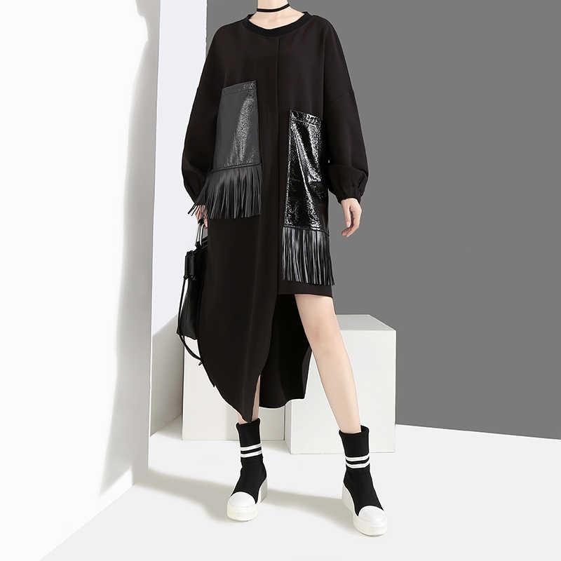 Женское платье с карманом из экокожи, однотонное черное длинное платье с бахромой в свободном стиле, модель 4029 большого размера на зиму, 2019