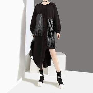 Image 2 - 2020 Women Autumn Winter Casual Big Size Black Dress Long Sleeve PU Pocket Fringes Ladies Unique Dress Loose Style vestidos 4029