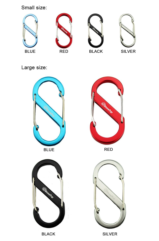 ShineTrip 5 pcs 8-Shaped Aluminum Carabiner KeyChain Hook Clip Camping EDC Gear Slide Lock Water Bottle Buckles Snap 5x2.3cm
