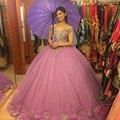 Longo vestido de Baile Quinceanera Vestido Fora do Ombro da Luva do Tampão Rosa Tulle com Applique Beading Bandage vestido de Festa Vestido Feito Sob Medida
