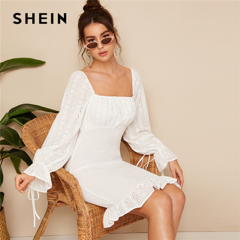 SHEIN винтажное белое кружевное платье с ушками, квадратным вырезом, рукавом-колокольчиком, облегающее женское весеннее элегантное платье с в...