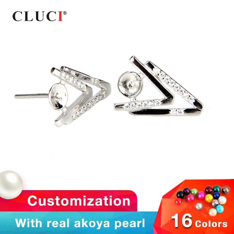 CLUCI 925 Sterling Silver Double V Earrings For Women Pearl Earring Mounting for Fine Jewelry Making Silver 925 Stud Earrings