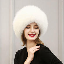 Female Bomber Cap Autumn Winter Hat Women Faux Raccoon Fox Fur Hat Thick Warm Ears Russian Pompom Lace-up Ski Caps New Fashion