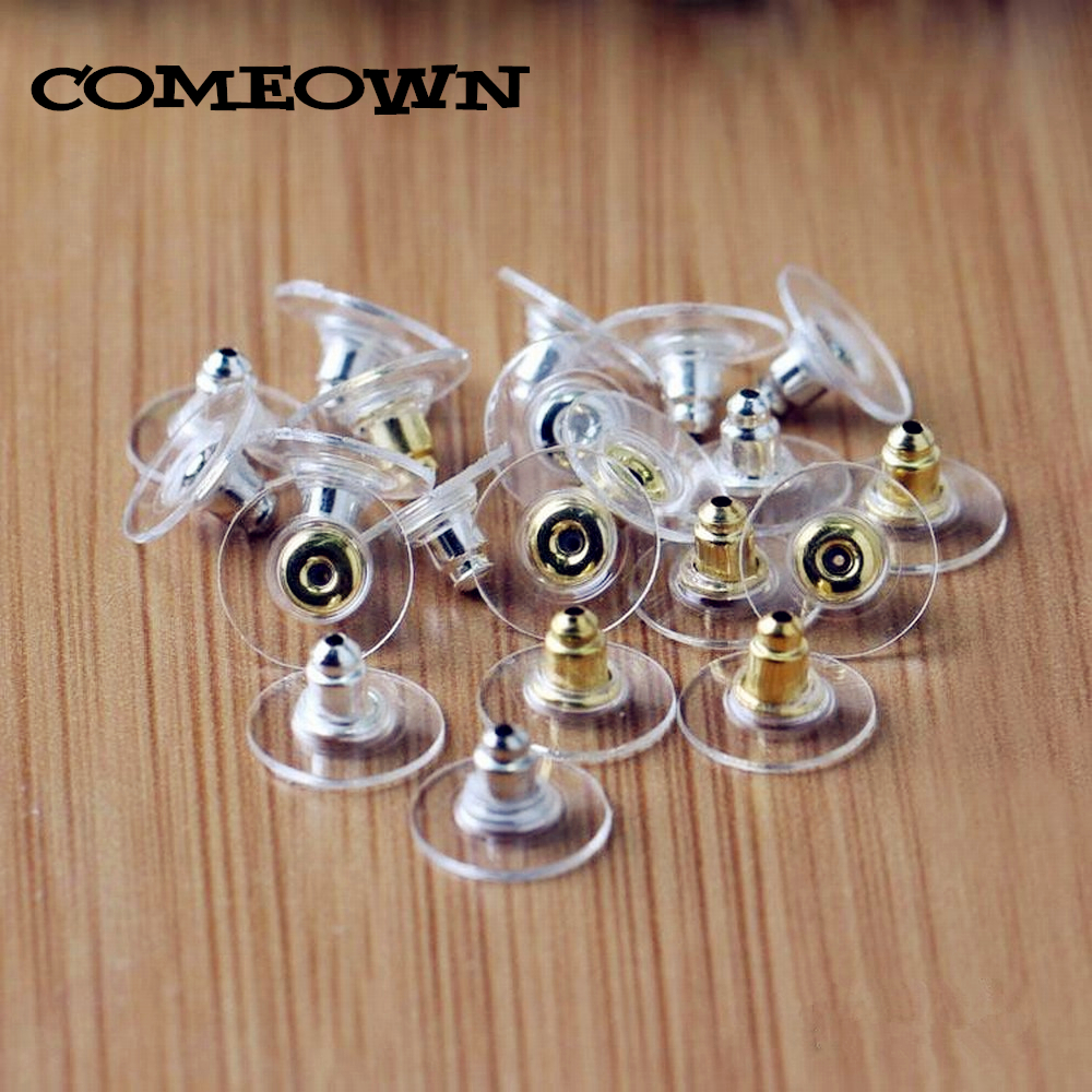 COMEOWN 100pcs Suction Cup Shape Earring Back Round Ear Post Nuts Safety Earring Stopper For Earring Hook Jewelry Findings