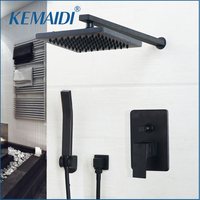 KEMAIDI Bathroom Rainfall Shower Faucet Luxury Black Wall Mounted Sets 8 10 12 Inch Oil Rubbed