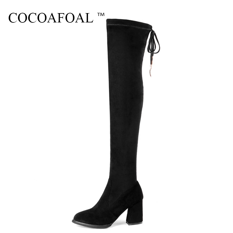 COCOAFOAL Genuine Leather Thigh Lace Up High Boots Plus Size 33 Winter Chelsea Over The Knee Boots Women Black High Heeled Shoes autumn and winter high heeled knee boots women fashion leather lace up high heels plus size knight boots size 35 43