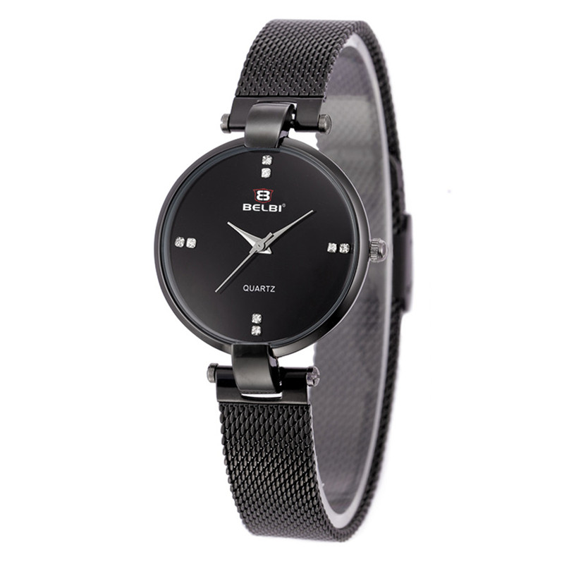 BELBI Watch Women Fashion Luxury Watch Reloj Mujer Stainless Steel Strap Ladies Quartz Watch Women Watches vertex irbis 09