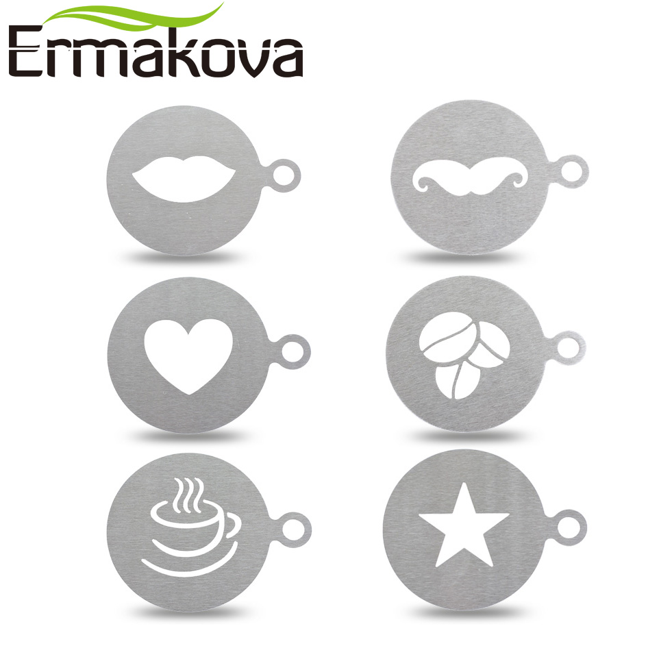 ERMAKOVA Stainless Steel Coffee Latte Cappuccino Barista Art Stencils DIY Chocolate Mold Cake Duster Templates Coffee Tools