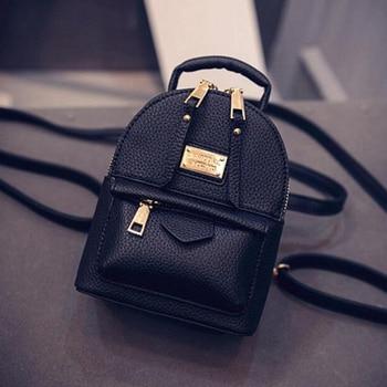 Fashion Wobag Backpacks Woman 2018 Mini PU Leather Backpack Female Solid Color Bookbag Gift Backbag Backpack Schoolbag For Girls