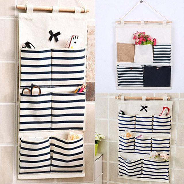 5 6 8 Girds Multilayer Storage Bag Linen Fabric Striped Small Items Organizer Wall