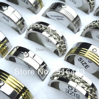 New 10pcs Silver Gold Stainless Steel Rhinestones Women Mens Fashion Spin Chain Rings Wholesale Jewelry Lots A-148