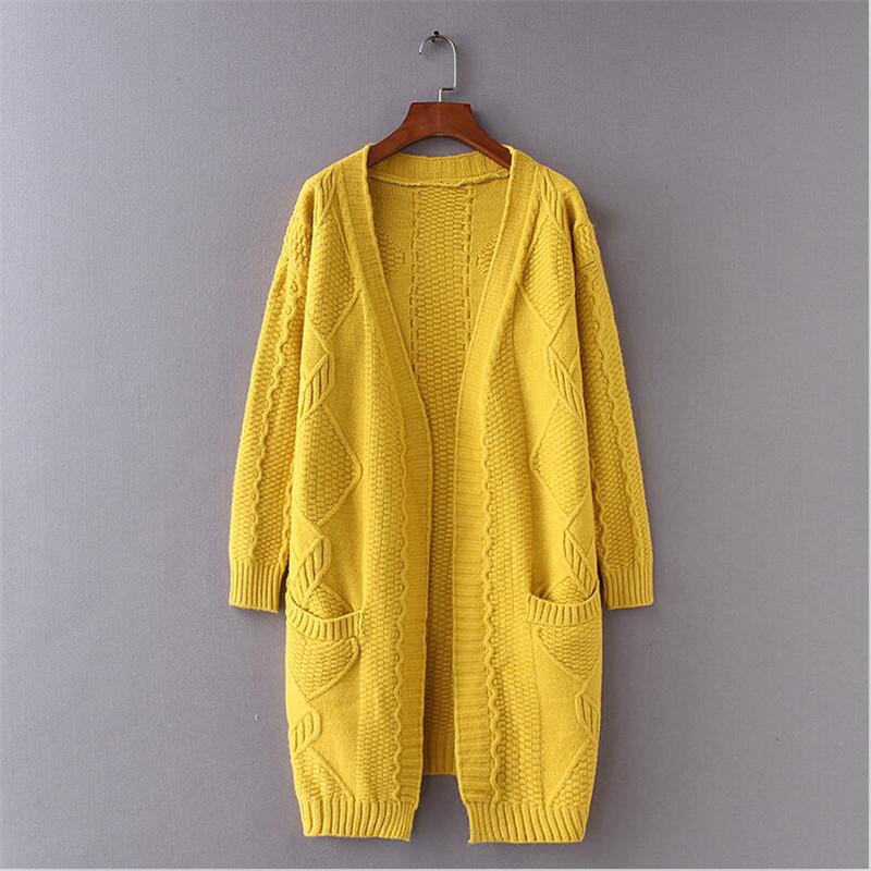 Robe 2018 Pull kaki Poche Tricoté Printemps Mince Avec Solide Tendance Automne Beige Long jaune Manteau rouge V Femmes cou Cardigan Femelle tZcUpqU