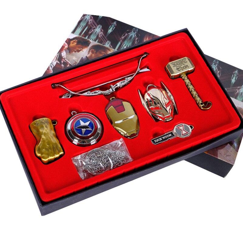 Marvel vintage brinquedos os vingadores infinito guerra capitão américa thanos homem de ferro hulk cosplay colar chaveiro presentes caixa embalagem