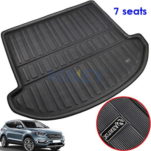 Hyundai protection de pieds de boue  Adapté pour Santa Fe 2013 2018 7 places arrière coffre arrière, tapis de cargaison plateau tapis de sol, 2014 2015