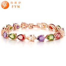 Multicolor Crystal High Quality Rose Gold Color Colorful Bracelet AAA Zircon CZ Bracelets Jewelry for Women Wedding fym high quality rose gold color crystal chain link bracelet femme aaa zircon cz colorful bracelets for women wedding jewelry