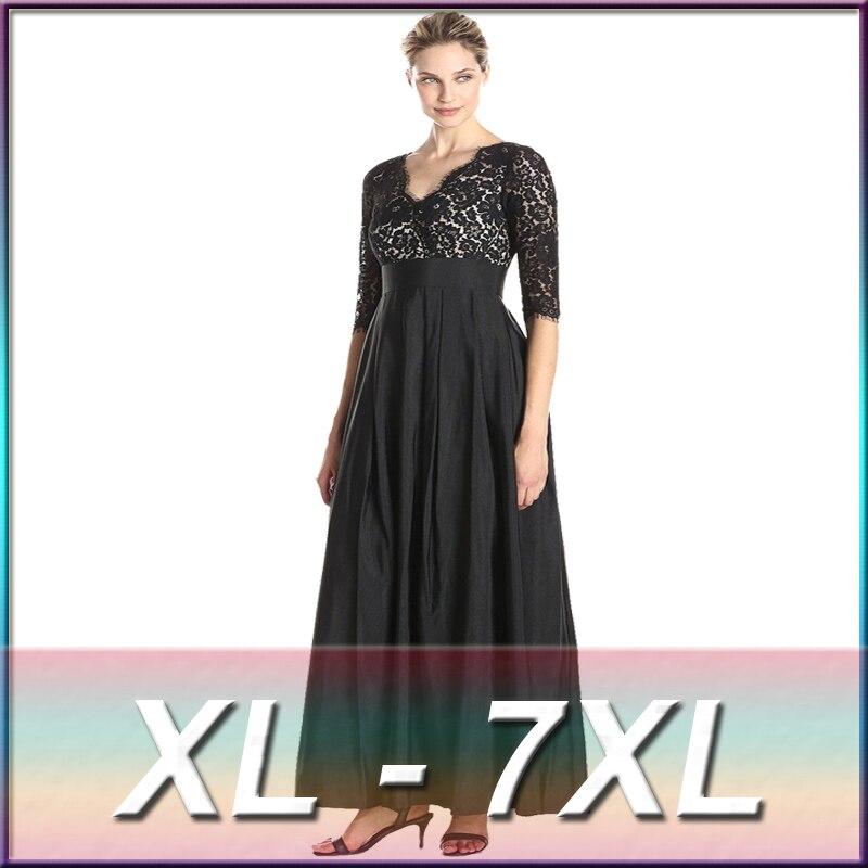 Printemps et été grande taille femmes vêtements XL XXL XXXL 4XL 5XL 6XL 7XL Patchwork dentelle robe noir Maxi robe femmes 2016