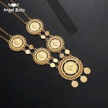 Collar largo de monedas para mujeres Islam musulmán árabe joyas con monedas, Color dorado Egyption Medio Oriente Turquía Lira