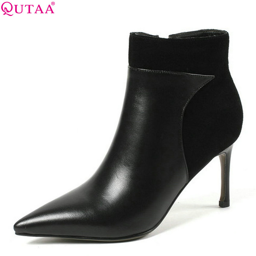 QUTAA 2019 Winer Shoes Genuine Leather+pu All Match Women Ankle Boots Thin High Heel Elegant Ladies Boots Big Size 34-43 цена