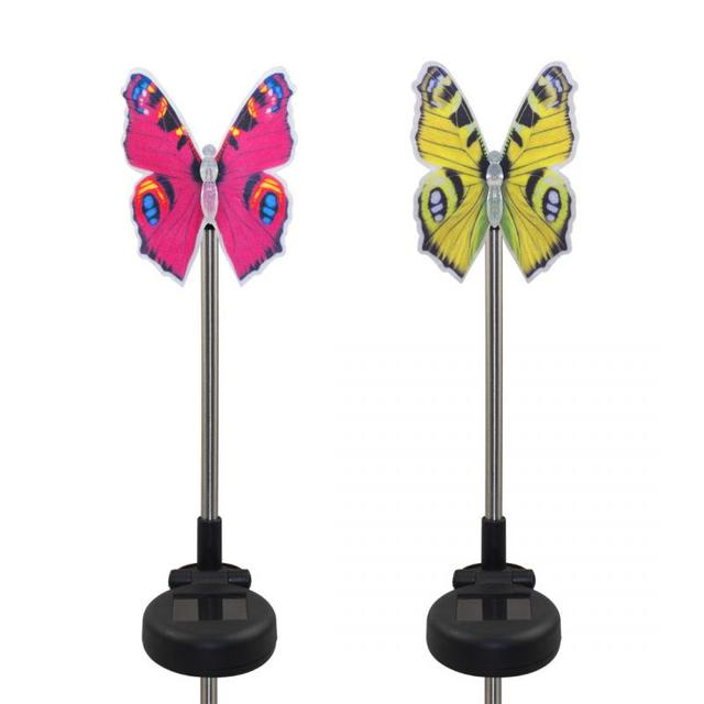 Newest Pack Of 2 Solar Fiber Optic Color Changing Butterfly Garden Stake  Light Decoration