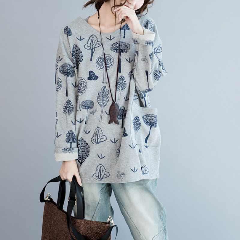 dd13cb44a44 Mori Girl Autumn Winter Women Hoodies Plus Size Forest Pattern Gray Black  Casual Sweatshirt Cute Kawaii