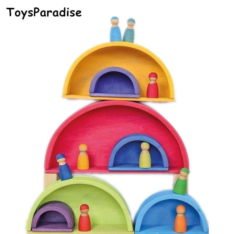 ToysParadise Large Rainbow Blocks/Semicircle Building Blocks Rectangular Board Pegdolls Geometric Wooden Toys For Kids Education-in Blocks from Toys & Hobbies