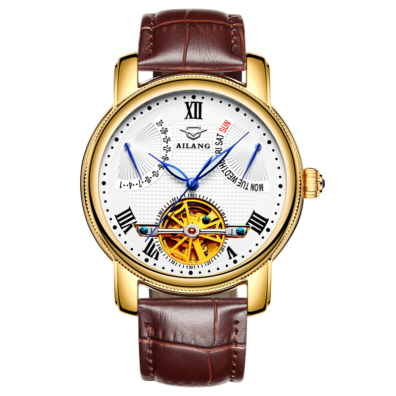 AILANG 5802 Switzerland watches men luxury brand Tourbillon multifunctional automatic mechanical watch hollow fashion new fashion luxury brand forsining rose gold men watch automatic mechanical watches hollow men tourbillon mechanical watch gift