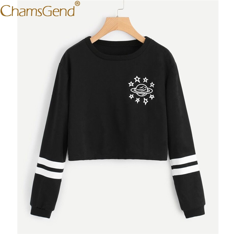Chamsgend Hoodies Women Black Sweatshirt Crop Top Planet Pattern Striped Long Sleeve Moletom Women Winter Sweatshirts 71207