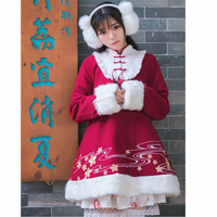 So Cute Vintage Chinese Style Winter Women Thick Sakura Floral Embroidery Fluffy Fur Wool Coat Long Red Outwear Overcoat Bow
