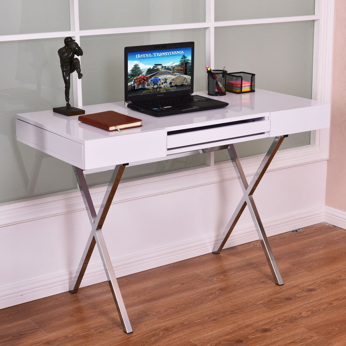 Giantex Computer Desk PC Laptop Table Modern Home Workstation Metal Frame Wood Top Office Desk with Keyboard Tray HW54484 laptop replacement keyboard with silver frame