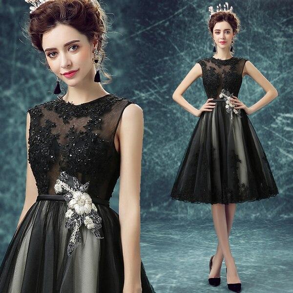 Black Sexy A Line Cocktail Dresses 2017 Beading Appliques Short Party Dresses robe de cocktail O Neck Sashes Hot Sale M2288