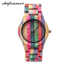 Shifenmei S5536 Quartz Hout Vrouwen Horloge Casual Luxe Fashion Brand Vrouw Horloges Kleurrijke Bamboe Materiaal Relogio Masculino